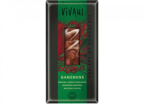 Cioccolato al latte con nocciole intere 100g VIVANI