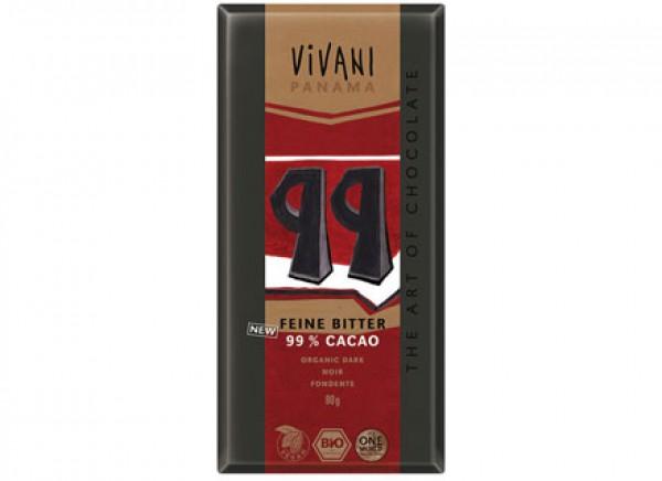 Cioccolato fondente 99% 80g VIVANI