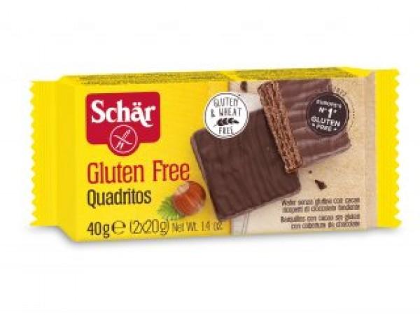 Quadritos Wafer con cioccolato fondente senza glutine 40g SCHAR