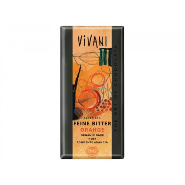Cioccolato fondente con arancio 100g VIVANI