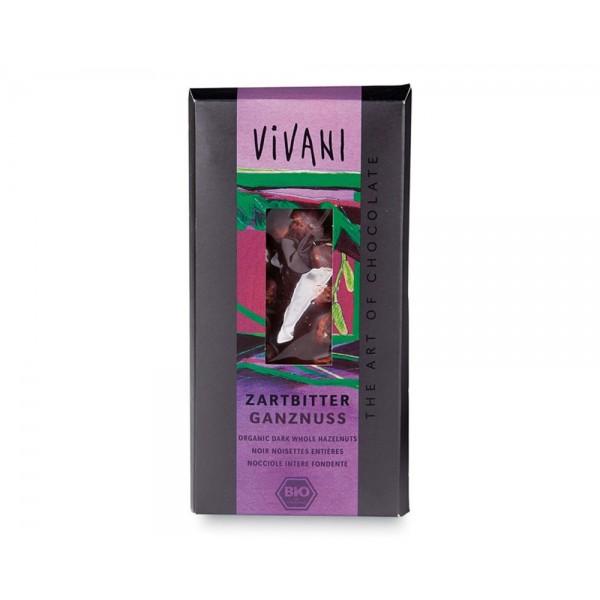 Cioccolato fondente con nocciole intere 100g VIVANI
