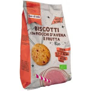 Biscotti con Fiocchi di Avena e Frutti Rossi Vegan 350g Fior di Loto