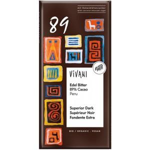Cioccolato superior dark 89% cocoa Perù 80g VIVANI
