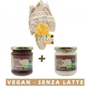 Uovo di pasqua Vegan + Duo creme spalmabile vegan bianca e cacao e nocciola
