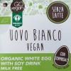 Uovo di pasqua Vegan Bianco con bevanda di soia fronte etichetta
