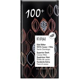Cioccolato Fondente Extra Fave di Cacao 100% 80gr Vivani