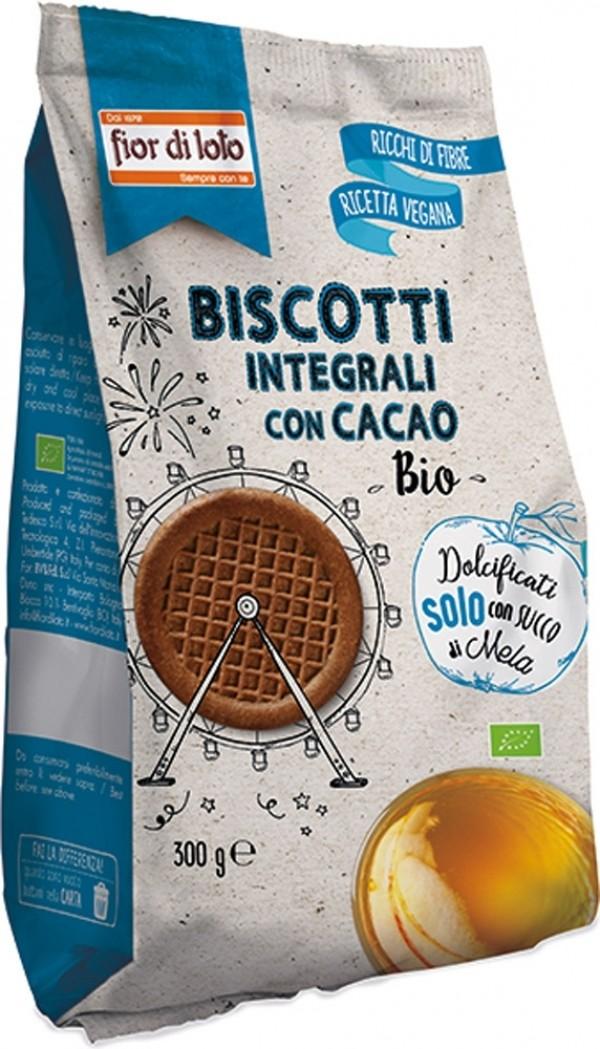 Biscotti Vegani con Cacao senza zuccheri aggiunti 300gr Fior di Loto