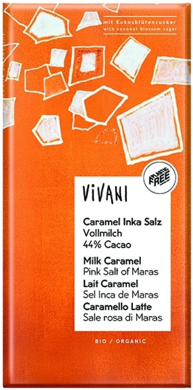 Cioccolato al latte con caramello e sale rosa di maras 80g VIVANI