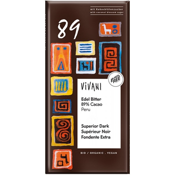 Cioccolato Superior Dark 89 Cocoa Però 80g Vivani
