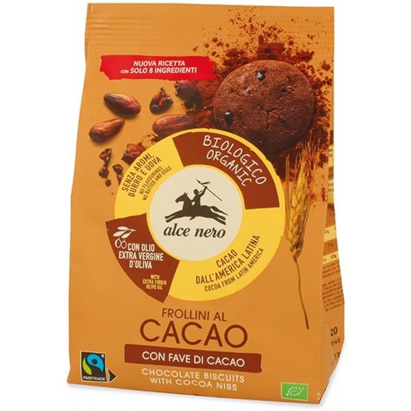 Frollini al Cacao con Fave di Cacao 250gr Alce Nero