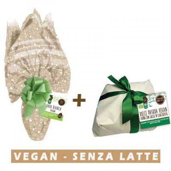 Uovo di Pasqa Vegan al cioccolato bianco con latte di soia + Dolce di Pasqua Farro e Cioccolato vegan